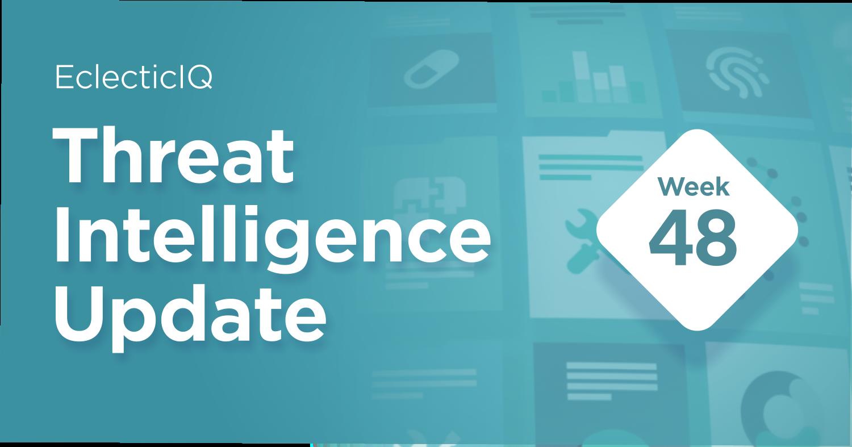 Biweekly Cyber Threat Intelligence Blog week 48 replacing the weekly Pandemic Intelligence blog